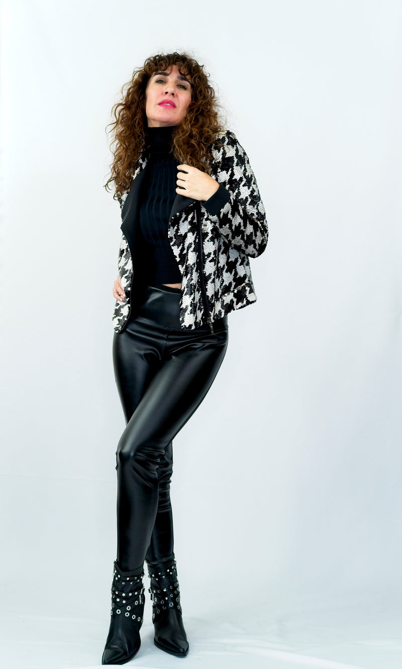 Houndstooth Double Sequin Moto Bike Jacket