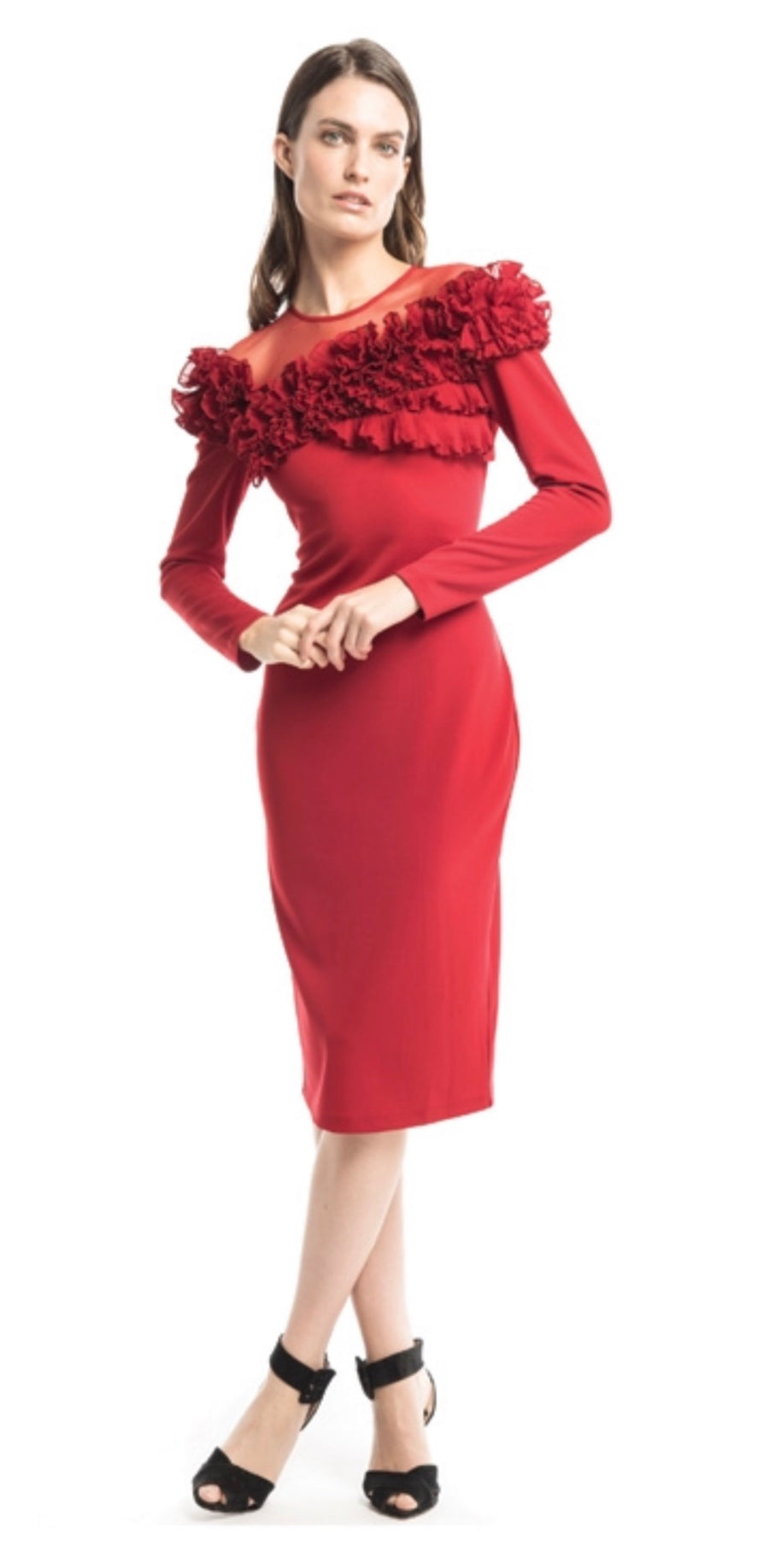 Perfect Ruffled Red Cocktail Dress