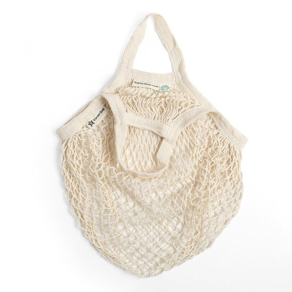 Turtle Bags Organic Cotton String Bag - Natural, Short Handle - Smug Store