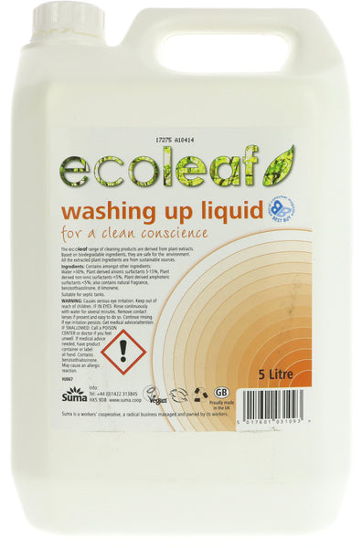 Ecoleaf Washing Up Liquid - 5l - Smug Store
