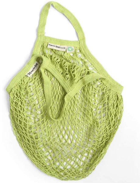 Turtle Bags Organic Cotton String Bag - Lime Green, Short Handle - Smug Store