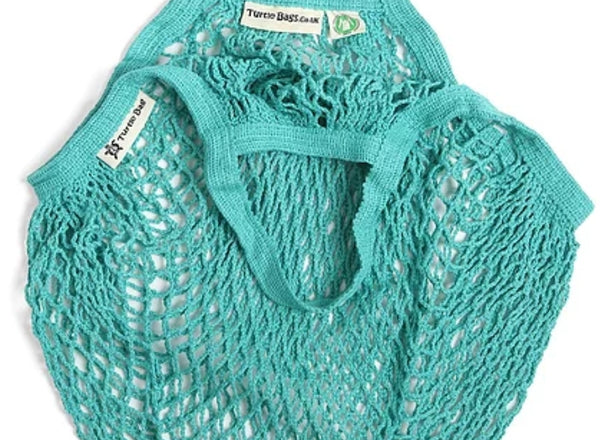 Turtle Bags Organic Cotton String Bag - Aquamarine, Short Handle - Smug Store