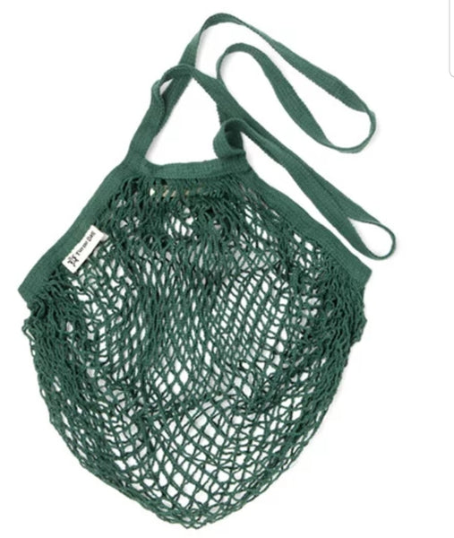 Turtle Bags Organic Cotton String Bag - Bottle Green, Long Handle - Smug Store