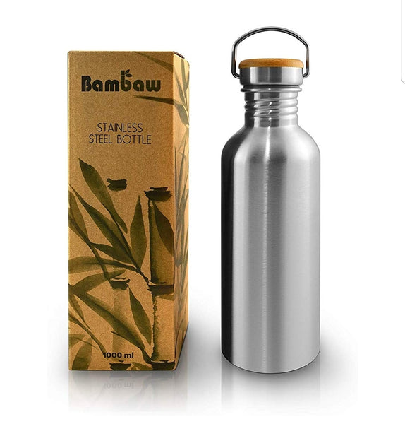 Insulated Bottle - Stainless Steel & Bamboo - Single Wall 1l - Smug Store