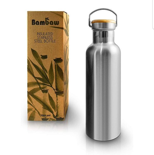 Insulated Bottle - Stainless Steel & Bamboo - Double Wall 750ml - Smug Store