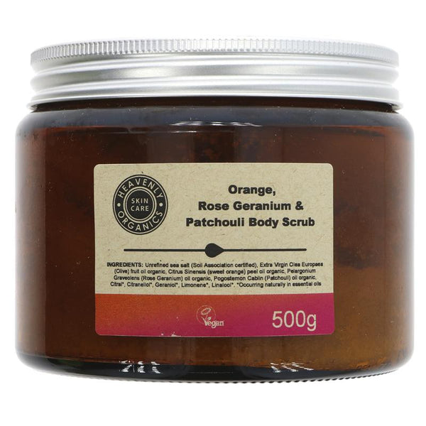 Heavenly Organics Orange, Rose Geranium & Patchouli Body Scrub - 500g - Smug Store