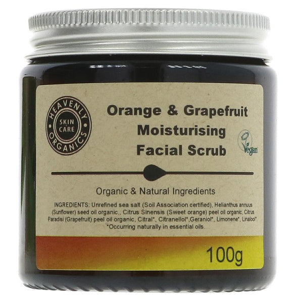 Heavenly Organics Orange & Grapefruit Facial Scrub - 100g - Smug Store