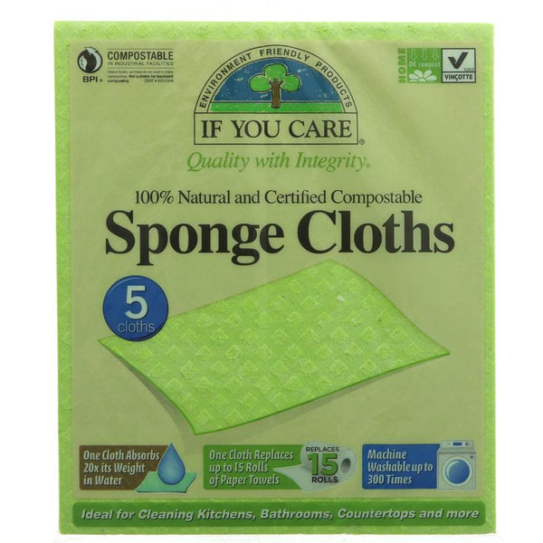 If You Care Plastic-Free Sponge Cloths - Pack of 5 - Smug Store