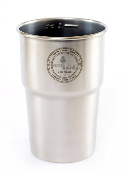 Recycled Stainless Steel Pint Cups for Festivals, Gigs, Plastic Free Camping - Smug Store