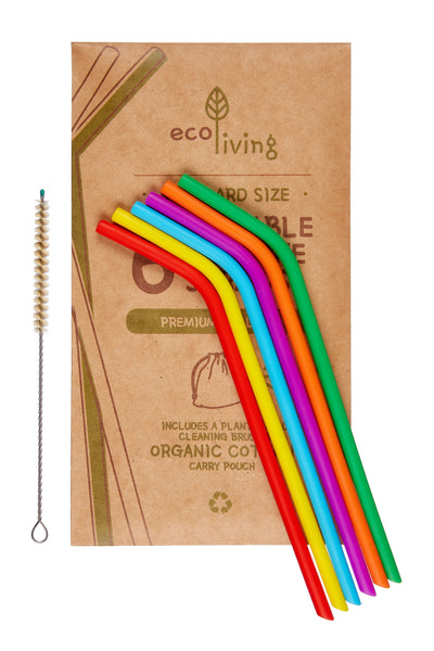 Soft Reusable Drinking Straws with Bag & Cleaning Brush - Smug Store
