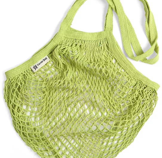 Turtle Bags Organic Cotton String Bag - Lime Green, Long Handle - Smug Store