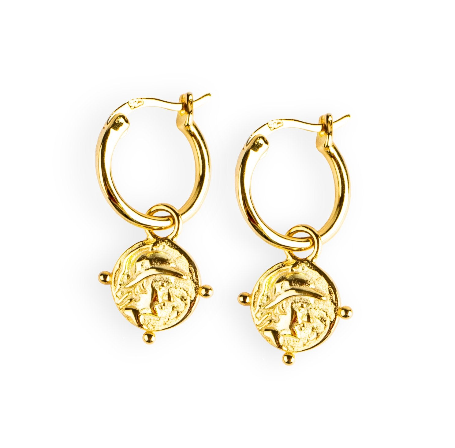 Roman Coin Earrings Gold - Wildflowers