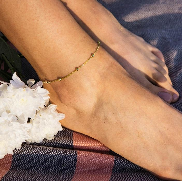 Good Vibes Gold Anklet - Wildflowers