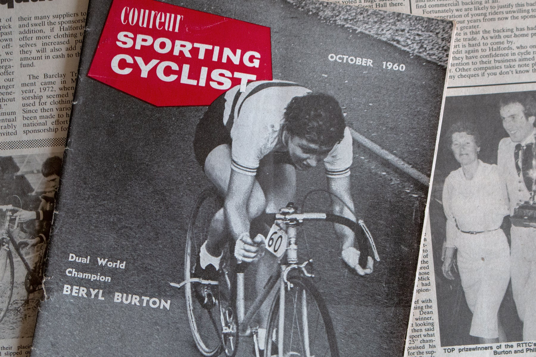Berly Burton on the cover of Sporting Cyclist c.1960 - Pedal Pedlar Classic & Vintage Cycling