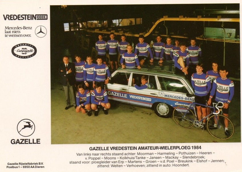 Gazelle-Vredestein-Campagnolo Amateur Team of 1984 with Jean Paul Van Poppel