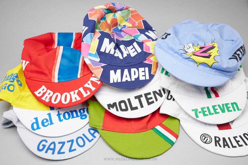 Retro Cycling Caps in Various Team Designs at Pedal Pedlar