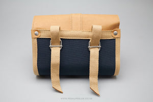 Basil Portland 0.5L Navy Blue/Brown Cotton Saddle Bag - Pedal Pedlar  - 3