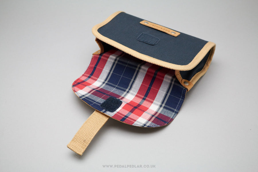 Basil Portland 0.5L Navy Blue/Brown Cotton Saddle Bag - Pedal Pedlar  - 1