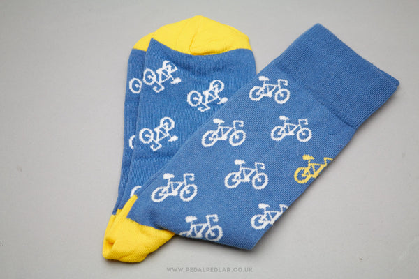 Blue Cycle Design Cotton/Poly Socks - Pedal Pedlar