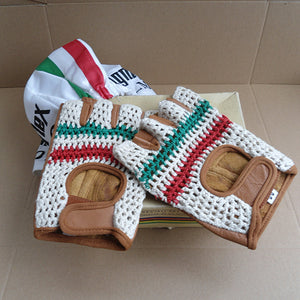 Classic Leather Cycling Gloves - Italian Flag - Pedal Pedlar - Classic & Vintage Cycling