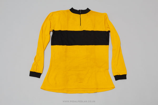 Black & Yellow Unbranded Vintage Woollen Style Cycling Jersey - Pedal Pedlar  - 1