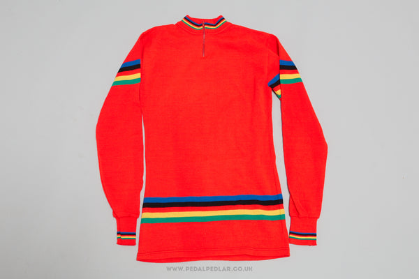 Red Vintage/Woollen Woollen Style Long-Sleeved Cycling Jersey