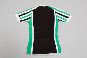Black/Green/White Vintage Woollen Style Cycling Jersey