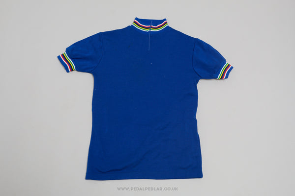 Unbranded Blue Vintage Woollen Style Cycling Jersey