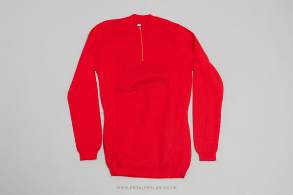 Red Unbranded NOS Woollen Style Long Sleeve Cycling Jersey