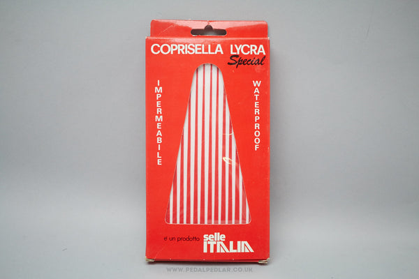 Selle Italia Coprisella Lycra Special Waterproof Saddle Cover - Red/White Stripes - Pedal Pedlar  - 1