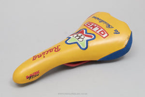 Selle Italia Max Flite Olmo Branded c.1996 Classic Yellow/Red Leather Saddle - Pedal Pedlar - Bike Parts For Sale