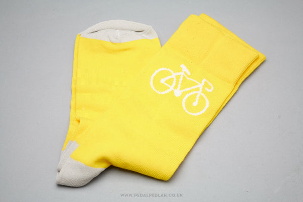 Yellow Bicycle Design Cotton/Poly Socks - Pedal Pedlar