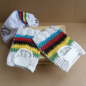 Classic Leather Cycling Gloves - World Champ Stripes - Pedal Pedlar - Classic & Vintage Cycling