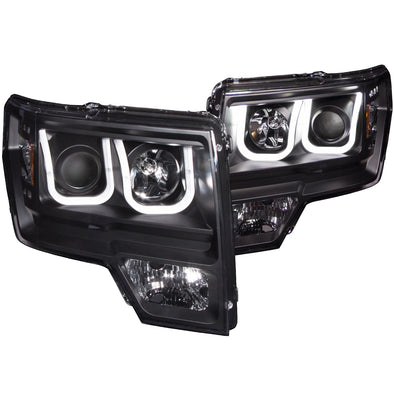 Anzo 2009-2014 F150 Black Projector Headlight Set - 111263
