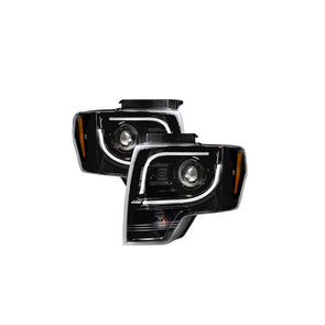 RECON Projector Headlights - 264190BKC Ford F150 & RAPTOR 09-14 w/ Ultra High Power Smooth OLED HALOS & DRL