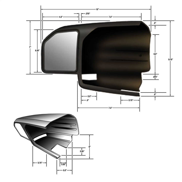 CIPA 2015-2018 F150 Black Towing Mirror Kit - 11550