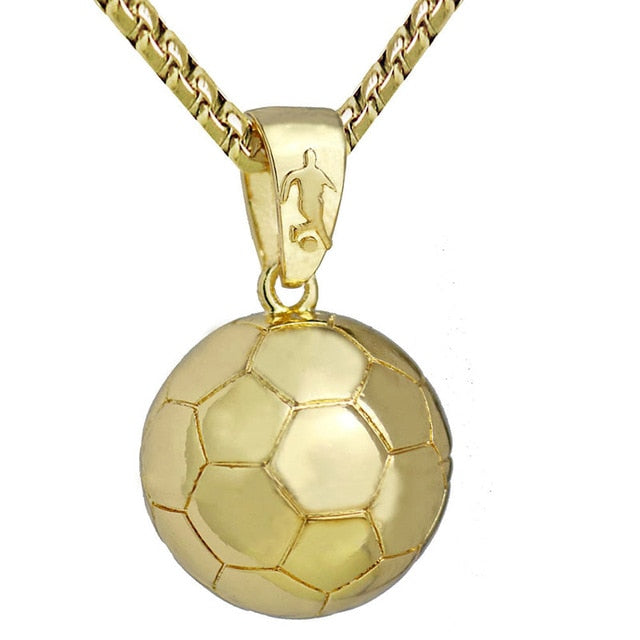 Football Pendant Necklace Stainless Steel Chain