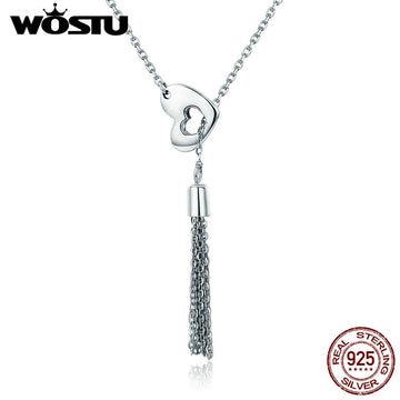 925 Sterling Silver Vintage Tassel & Heart Pendant Necklace For Women