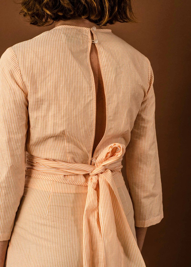 Penny Sage Posey Wrap Top // Peach Stripe