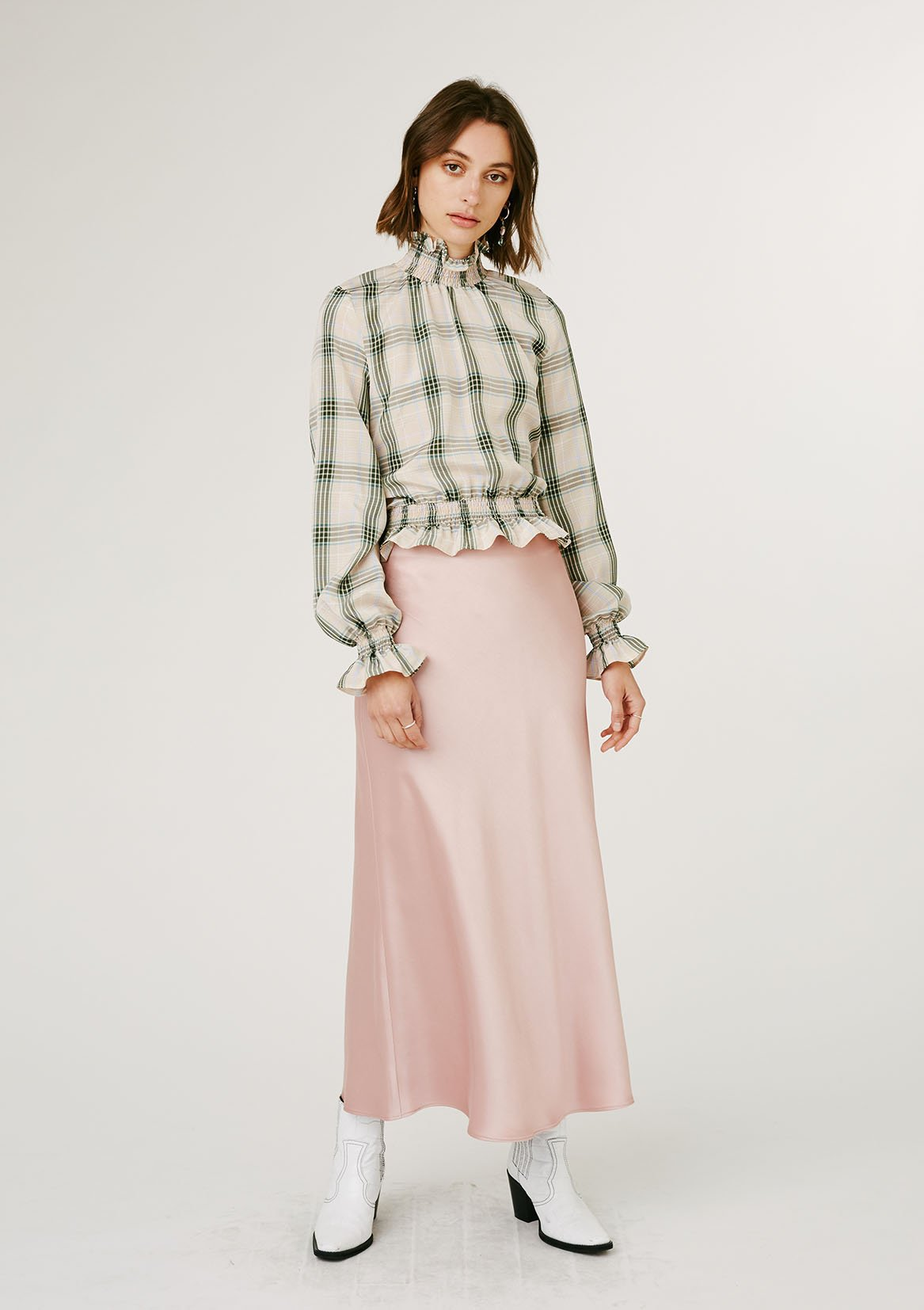 Jillian Boustred Flutter Blouse // Green Check