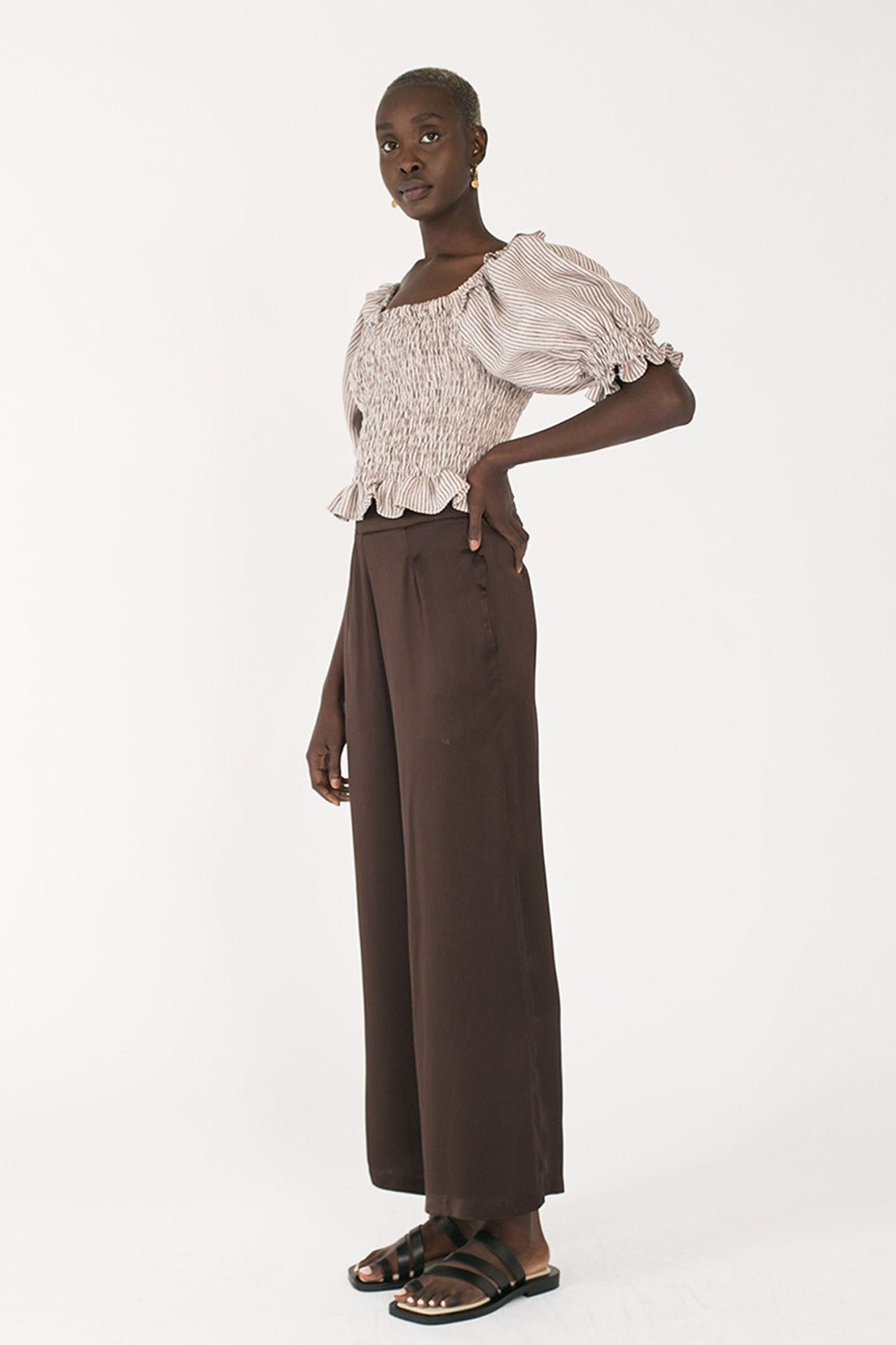 Jillian Boustred Bella Top // Brown Stripe