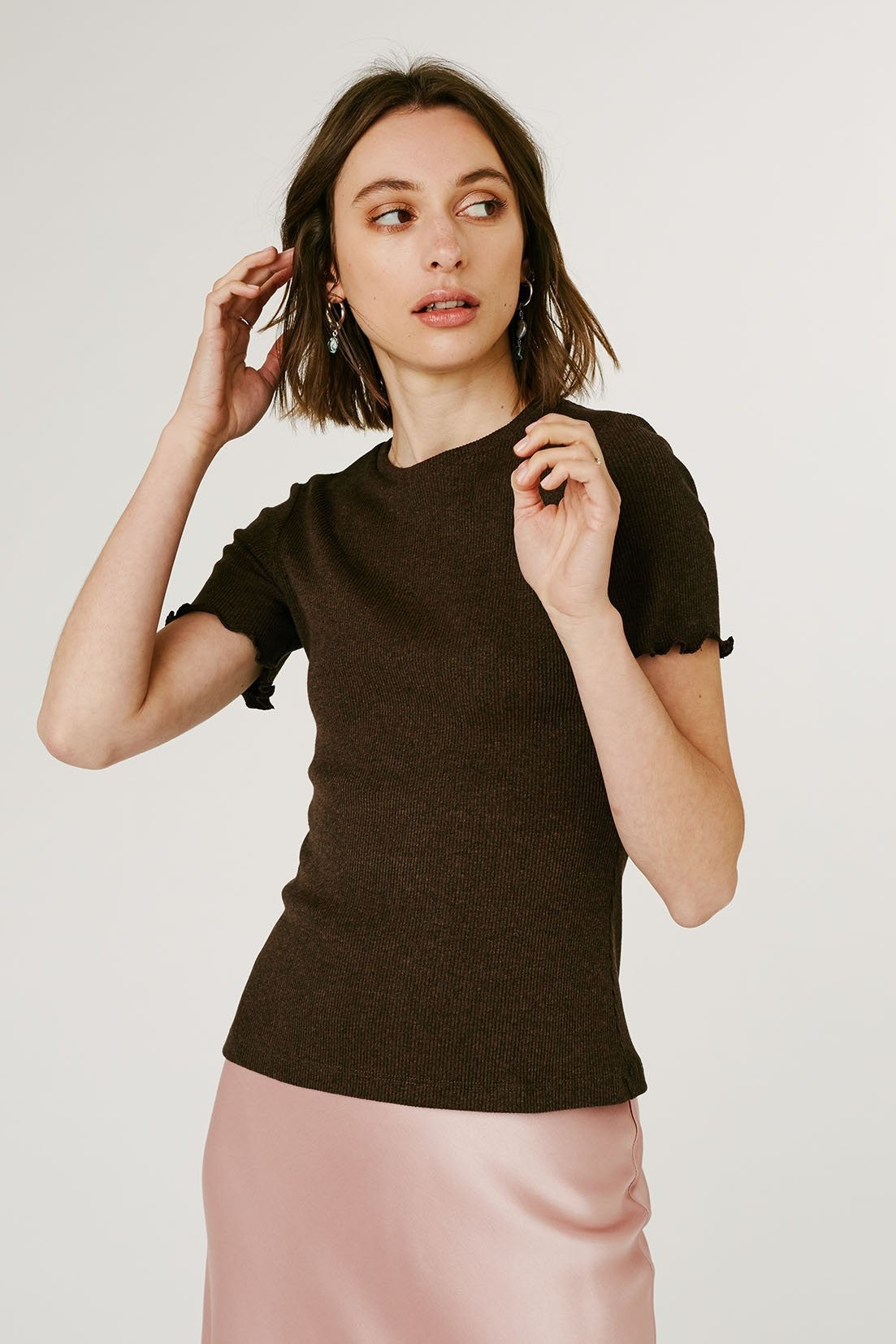 Jillian Boustred Nancy Ribbed Tee // Chocolate Brown