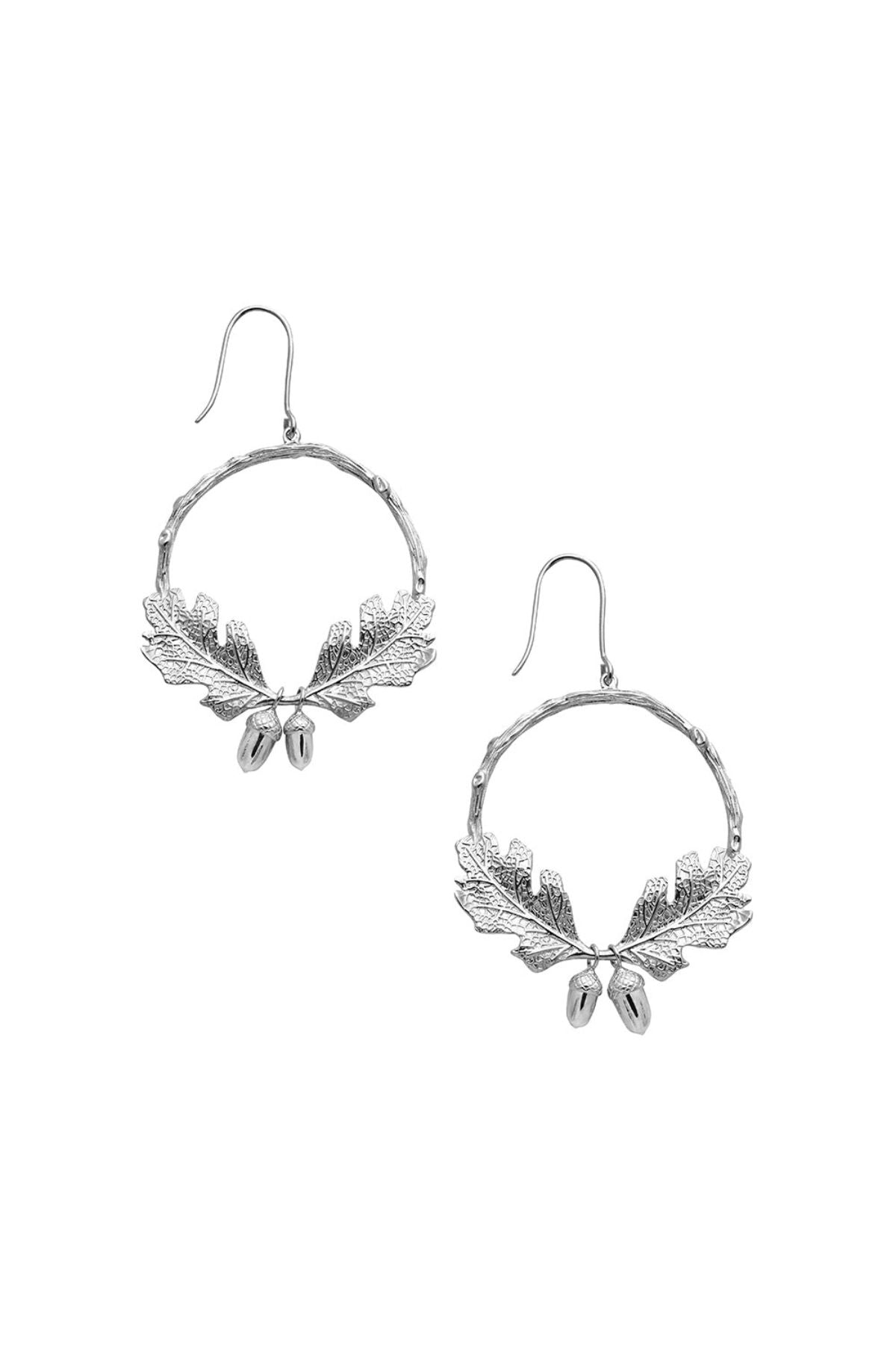 Karen Walker Acorn and Leaf Wreath Earrings // Silver