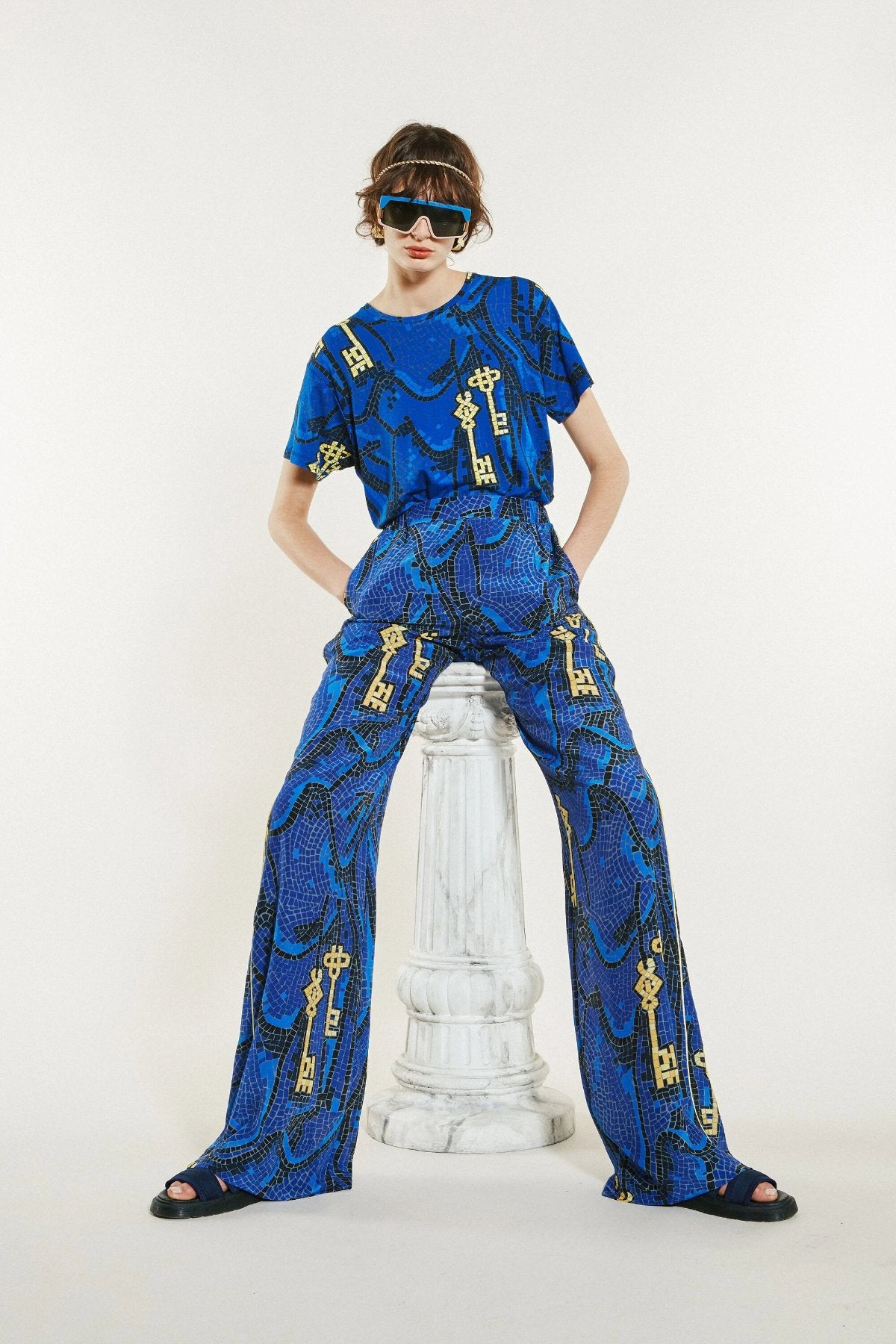 Karen Walker Key of Knowledge T-Shirt // Blue