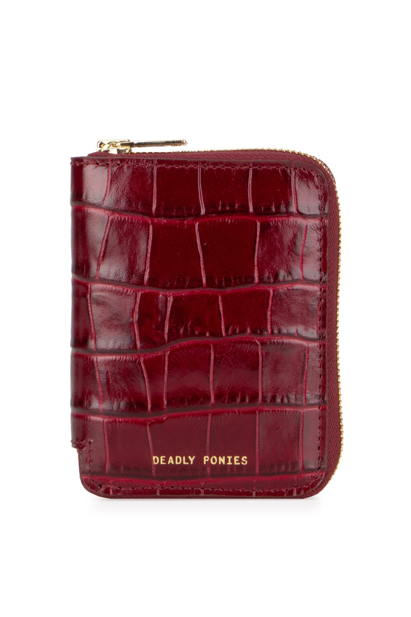 Deadly Ponies Mini Wallet Croc // Bordeaux