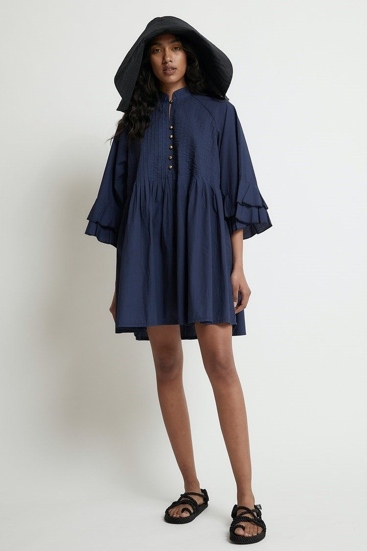 Pintuck Dress // Navy