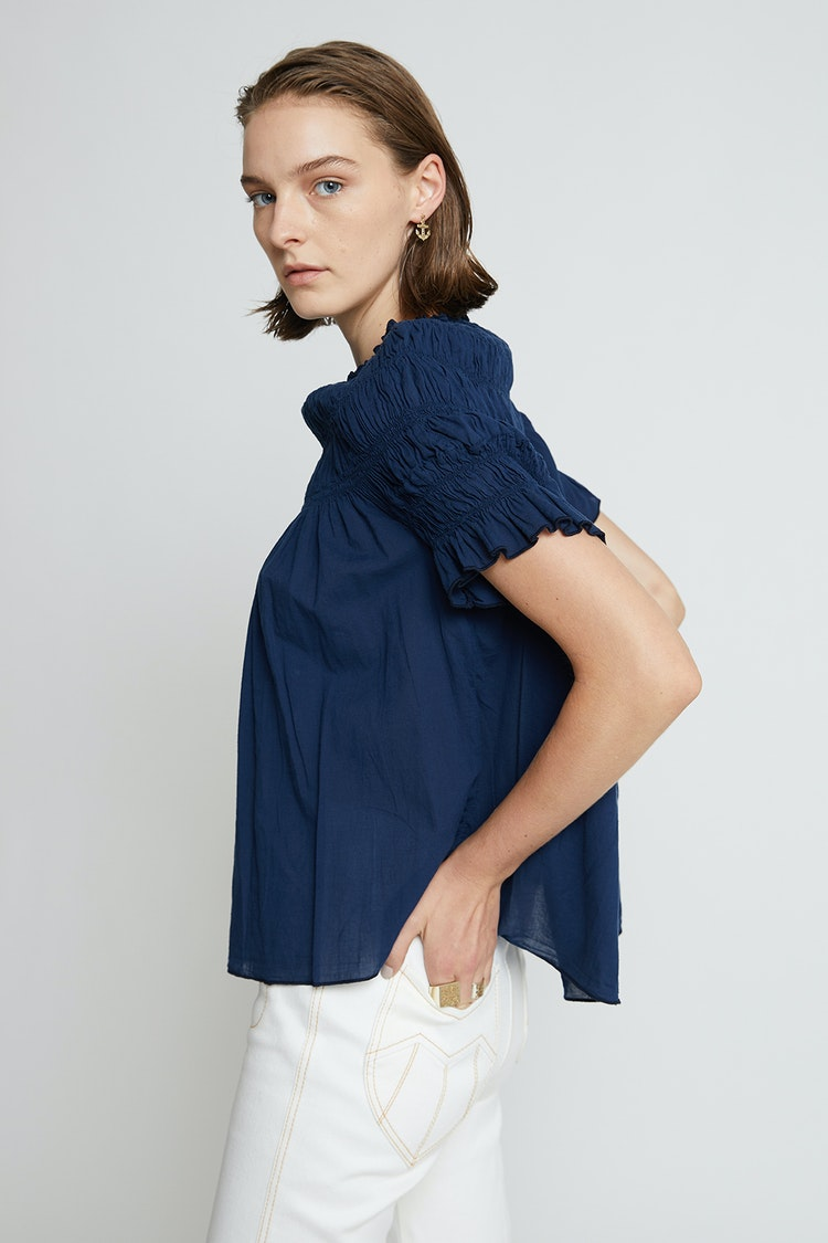 Karen Walker Shirred Cotton Blouse // Navy