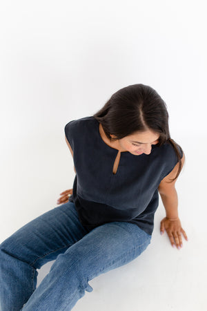 Elizabeth Box Top in Washed Black