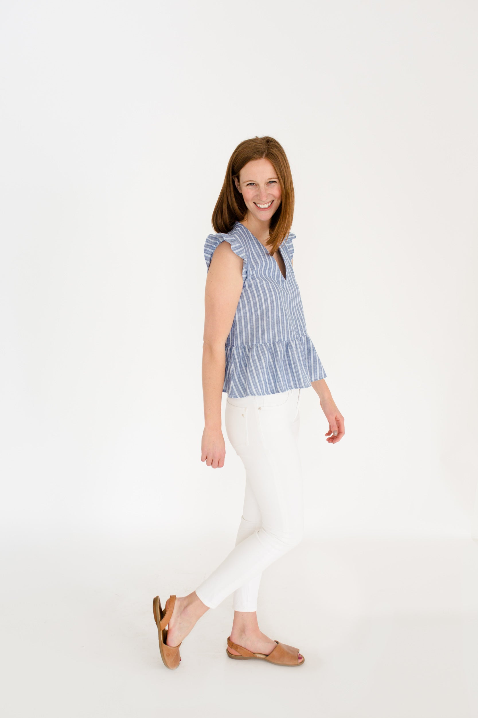 Gracie Peplum Top in Atlantic Stripe
