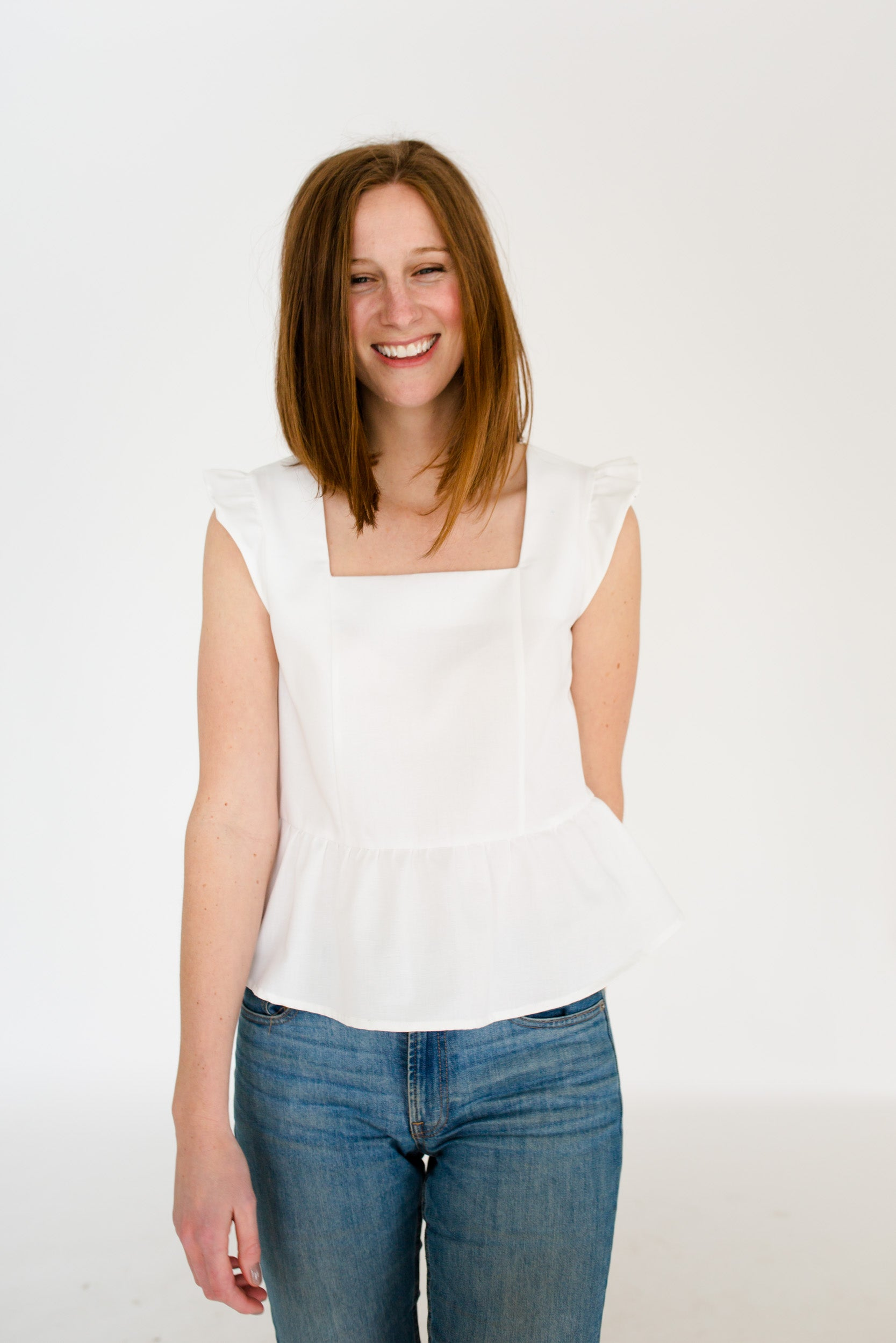 Erika Peplum Top in White